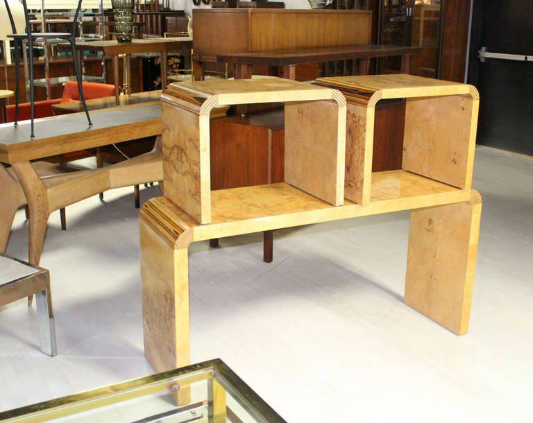 Burl Wood Mid Century Modern Console Table By Henredon   Image 10 Of 10