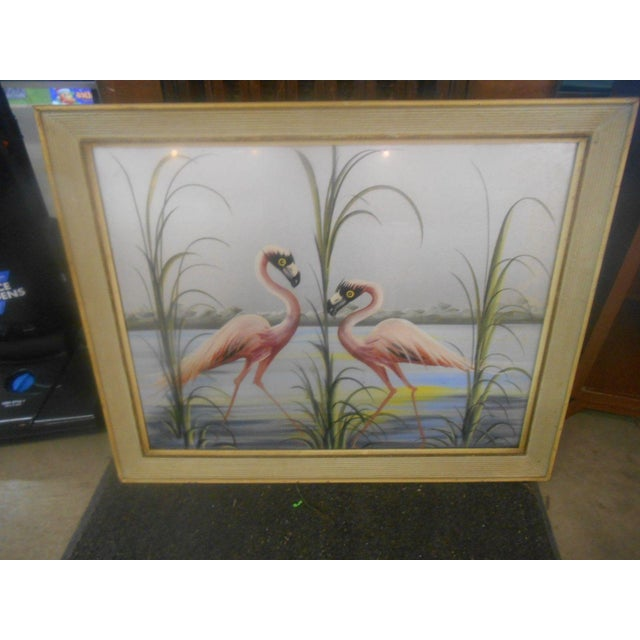 Vintage Retro Pink Flamingos Hand Painted Wall Art, 1950s For Sale - Image 5 of 7