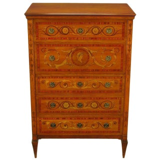 Mahogany Tall Chest With Trompe l'Oeil Neoclassical Marquetry For Sale