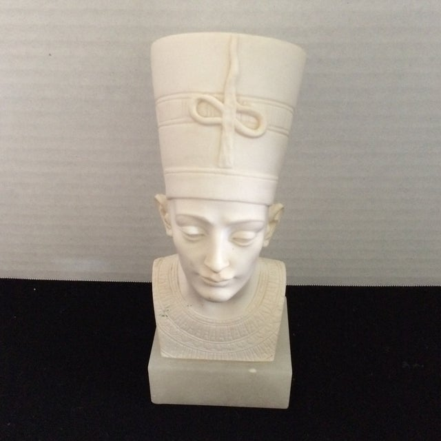 Signed Plaster Bust of Nefertiti on Alabaster Base - Image 2 of 8