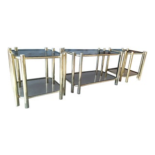 Milo Baughman Style Coffee & Side Table Set - Set of 3