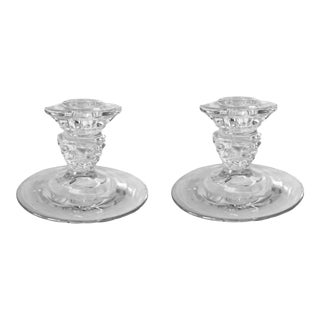 Vintage Crystal Taper Candlestick Candle Holders - a Pair For Sale