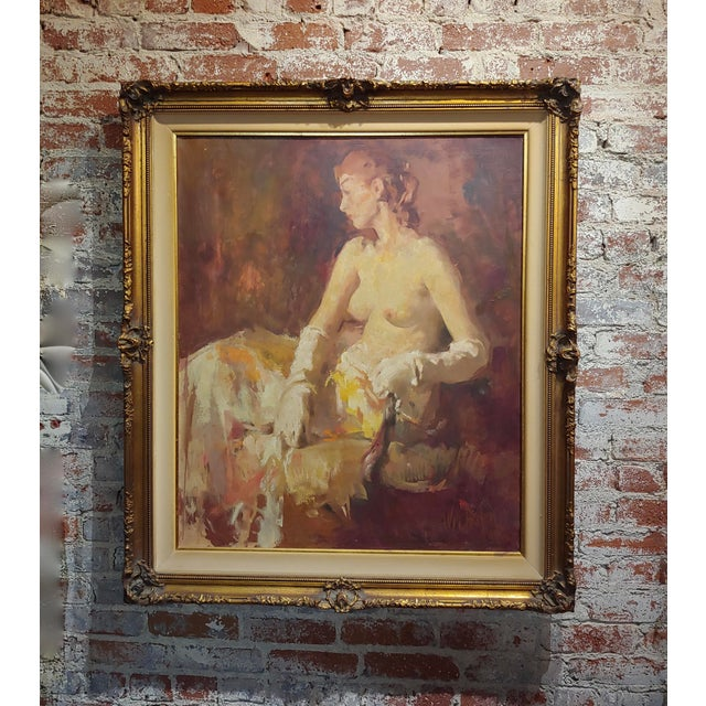 William Frederick Foster -Seated Nude Woman W/White Gloves- Oil Painting- C1930s For Sale - Image 9 of 9