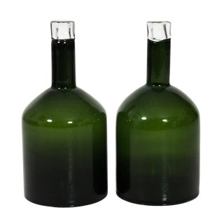 Pair of Green Glass Bottles For Sale