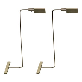 Cedric Hartman Style Brushed Chrome Floor Lamps - A Pair