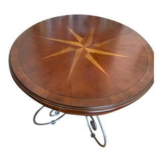 Transitional Ethan Allen Legacy Inlay Sunburst Wrought Iron Center/End Table For Sale