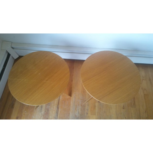 Two round maple end tables.by Artico. Some scratches and wear to the tops, vintage condition.
