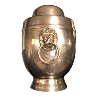 Mid Century Solid Brass Dual Lions Head Urn For Sale