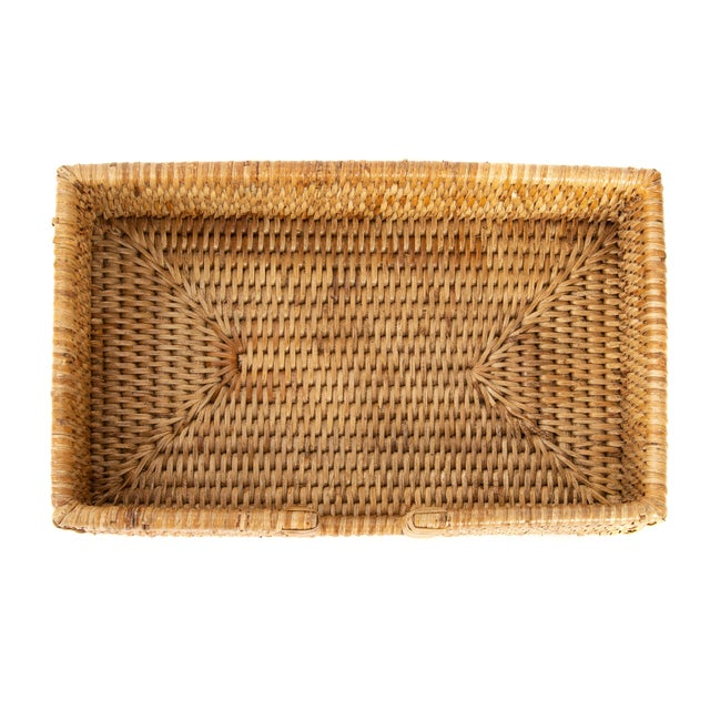 2020s Artifacts Rattan Guest Towel/Napkin Holder With Cutout - Honey Brown For Sale - Image 5 of 6