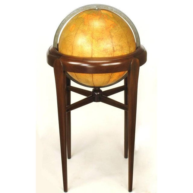 Replogle Illuminated Glass Globe on Mahogany Articulated Stand, circa 1940s - Image 2 of 10