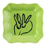 Hunt Slonem Green Bunny Portrait Plates - Set of 2
