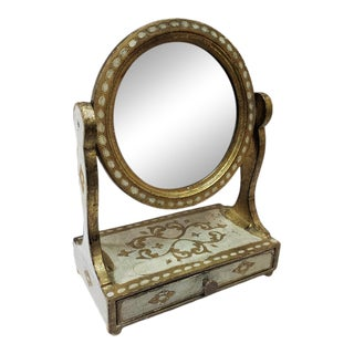 Italian Vanity Round Wood Mirror on a Florentine Jewelry Box For Sale