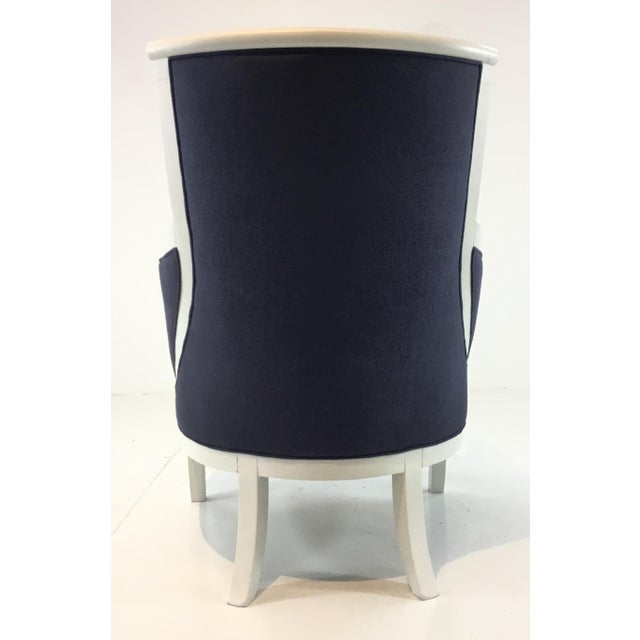 Hickory Chair Furniture Company Transitional Navy and White Hickory Chair Breck Chair For Sale - Image 4 of 6