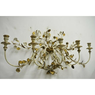 Vintage Italian Hollywood Regency Gold Gilt Iron Tole Metal 5 Arm Candelabra Wall Sconce Preview