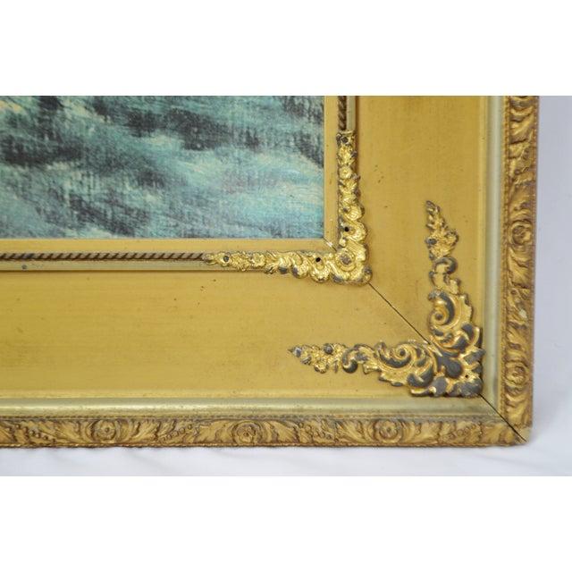 """Paper Vintage Gold Gilt Framed Renoir """"Boating on the Seine"""" Print on Board For Sale - Image 7 of 13"""