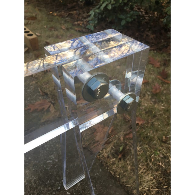 Mid Century Lucite Blanket Rack Saw Horse For Sale - Image 9 of 13