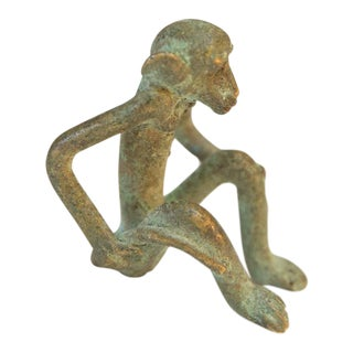 Vintage African Oxidized Bronze Sitting Monkey For Sale