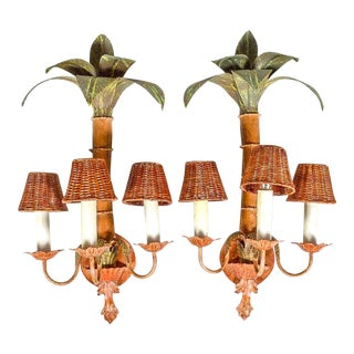 Pair of Large Scale Palm Tree Tole Sconces For Sale