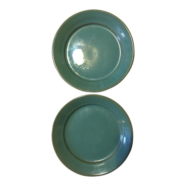 Blue Glazed Pottery Plates - A Pair - Image 1 of 4