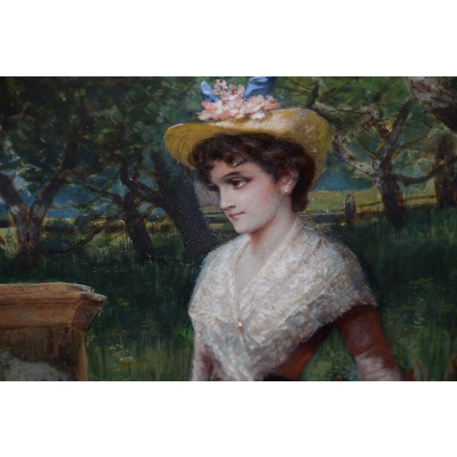 Early 20th C. Portrait of Young Woman at Gardens Gate Watercolor Painting For Sale In San Francisco - Image 6 of 9