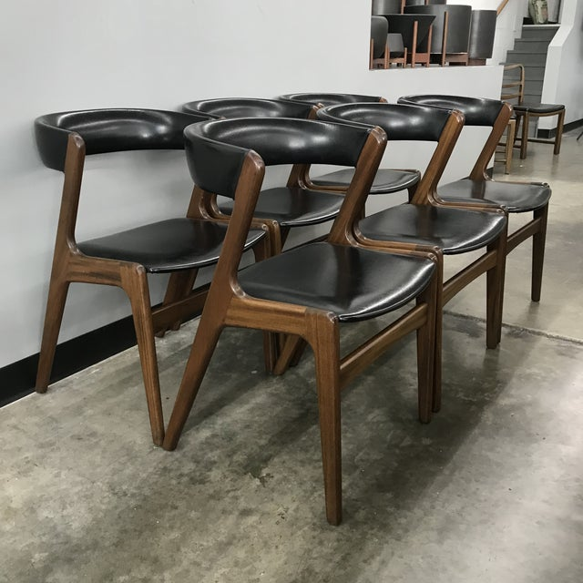 Set of 6 Danish modern z chairs by Kai Kristiansen. These have been newly cleaned and oiled. The upholstery is original...