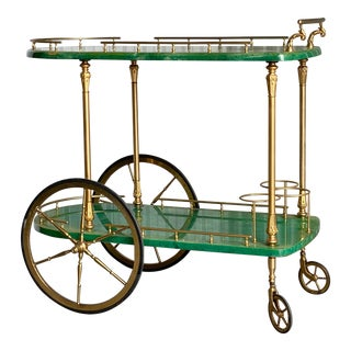 Hollywood Regency Aldo Tura Wrapped Goatskin Bar Cart For Sale