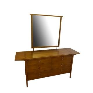 1956 Vintage Mid Century Drexel Counterpoint by John Van Koert Dresser & Mirror Set