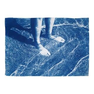 2020 Kind of Cyan Greek Beach Bliss, Cyanotype on Watercolor Paper For Sale