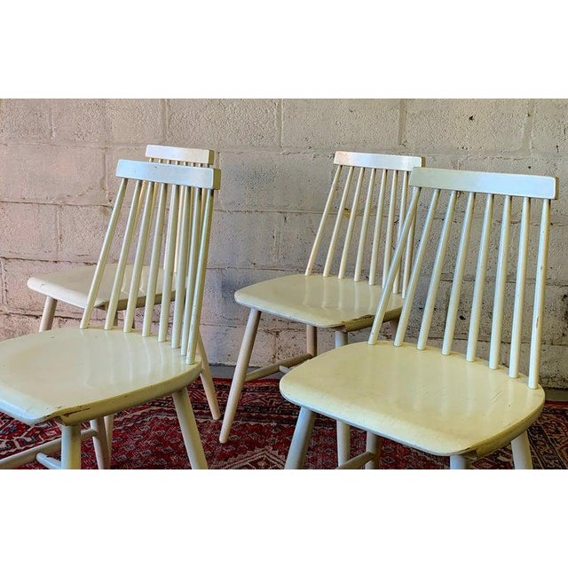 1960s Mid Century Modern Spindle Back Dining Chairs - Set of 4 For Sale - Image 5 of 9