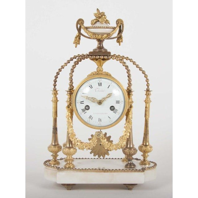 18th Century Gilt Bronze French Portico Clock For Sale - Image 4 of 12