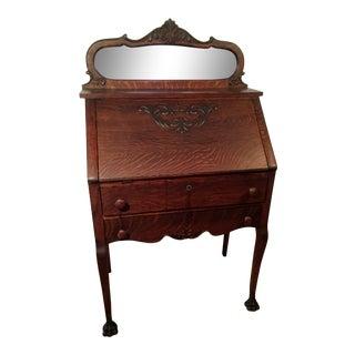 19th Century Traditional Quartered Oak Ladies Slant Writing Desk For Sale