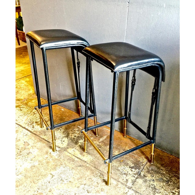 Mid-Century Modern Pair of Jacques Adnet Bar Stools, C. 1950s For Sale - Image 3 of 12