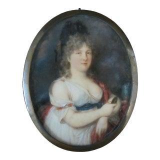 18th Century Miniature Female Poet Portrait Madame De Grabow German Sappho For Sale
