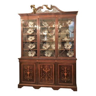 Antique English Mahogany Bookcase with Superb Inlay, Circa 1880-1890.