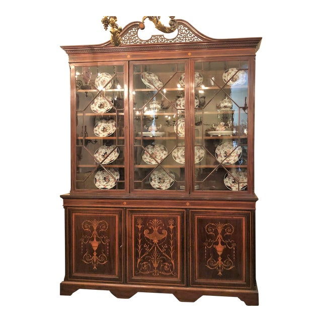 Antique English Mahogany Bookcase with Superb Inlay, Circa 1880-1890. For Sale