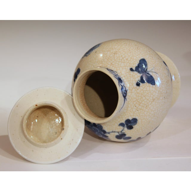 Antique 19th Double Circle Mark Chinese Blue & White Porcelain Jar Cover Vase For Sale - Image 4 of 12