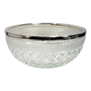 Vintage Glass Centerpiece Decorative or Serving Bowl With Silver Rim For Sale