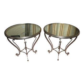 Hickory Antique Silver Leaf Mirror Top Side Tables - A Pair For Sale