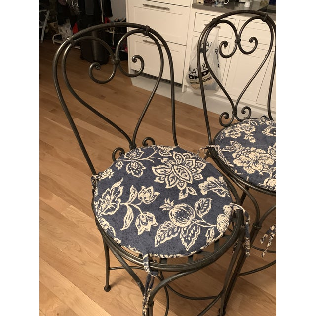 1990s Wrought Iron Barstools - A Pair For Sale - Image 5 of 9