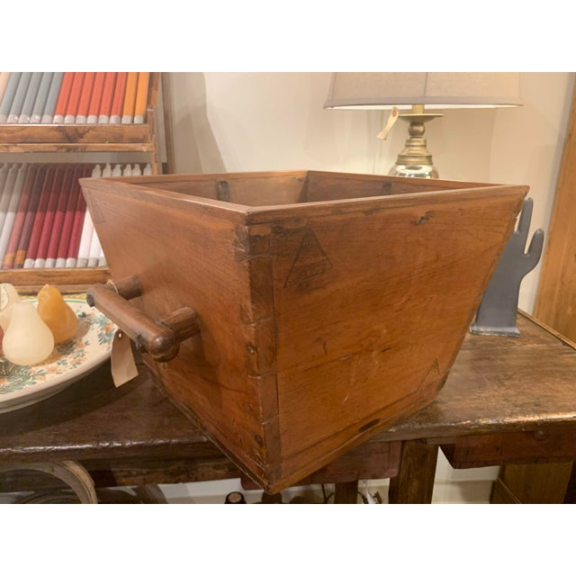 Antique Wooden Box With Handles For Sale In Denver - Image 6 of 13