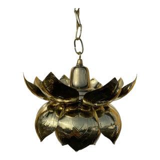 1970s Brass Lotus Pendant For Sale