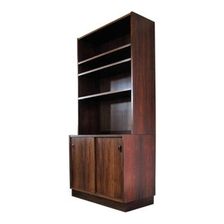 Mid-Century Modern Danish Rosewood Sliding Door Cabinet With Bookcase For Sale