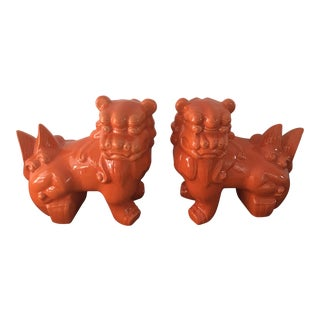 Vintage Orange Chinoiserie Foo Dogs - a Pair