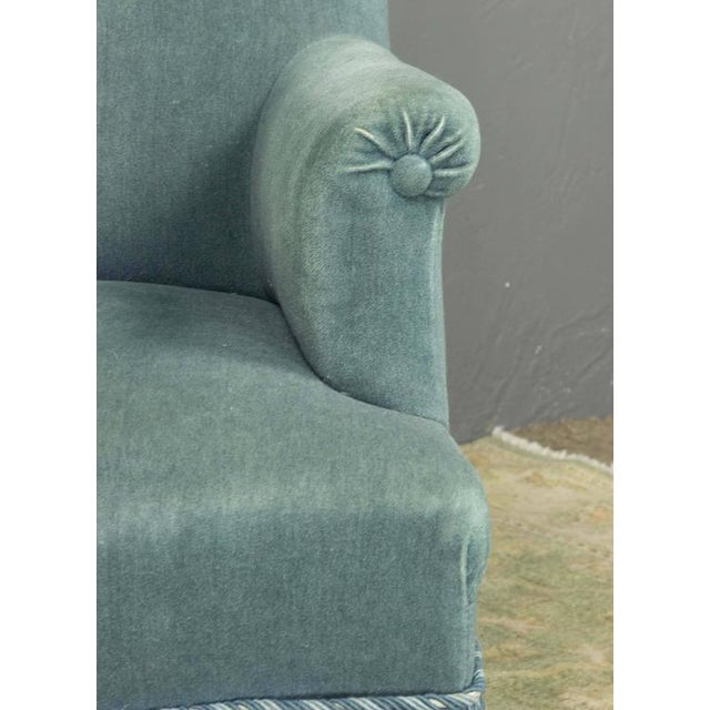 19th Century French Faded Blue Velvet Armchair - Image 10 of 11