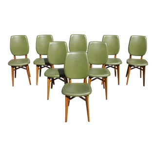 Classic French Art Deco Solid Mahogany Dining Chairs, Circa 1940s - set of 8 For Sale