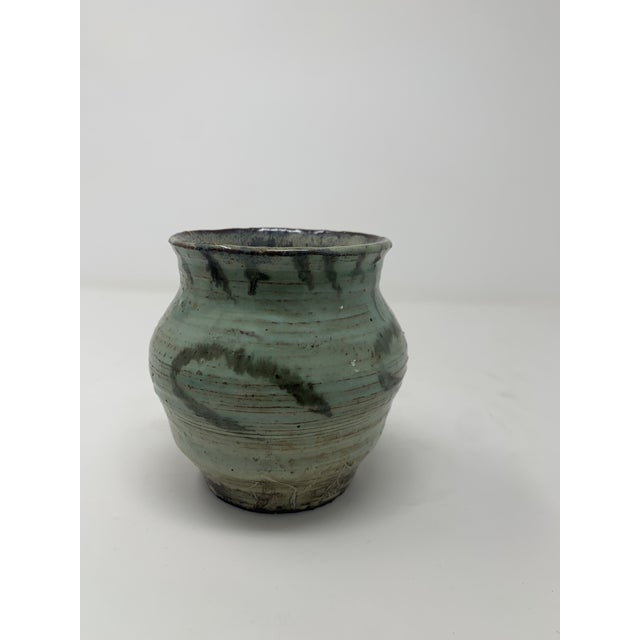 Late 20th Century Short Green Ceramic Vase For Sale - Image 4 of 11