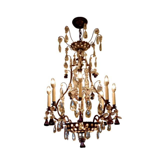 This item for sale is an authentic Baguès chandelier made from Iron and gorgeous cut glass. Purchased from Lorin Marsh,...