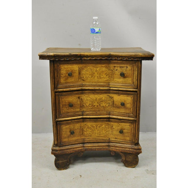 Antique Italian Continental 3 Drawer Inlaid Walnut Commode Chest Nightstand For Sale - Image 10 of 12