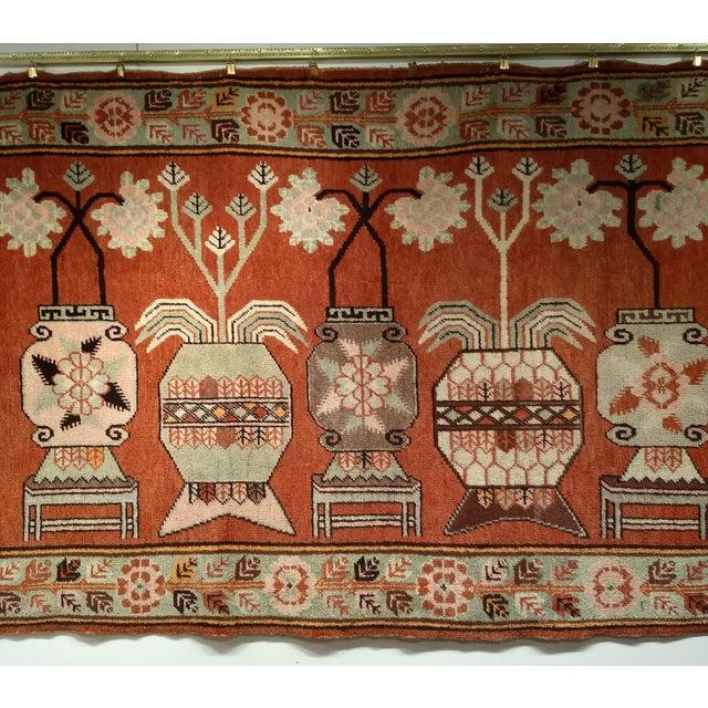 Mid-Century Modern Vintage Khotan Vase Carpet - 5′ × 8′ For Sale - Image 3 of 13