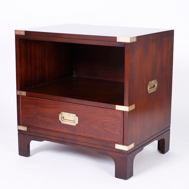 Campaign Midcentury Campaign Style Nightstands - A Pair For Sale - Image 3 of 10